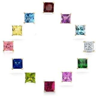 14k Gold Princess-cut Crystal Elements Birthstone Stud Earrings