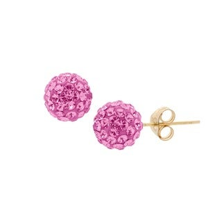 14k Gold 6mm Pave Crystal Ball Stud Earrings