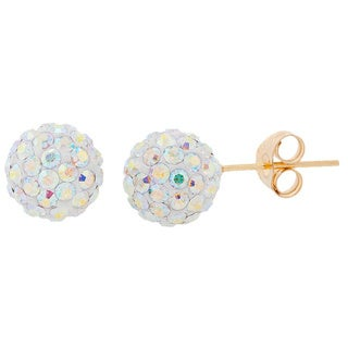 14k Gold 7.5mm Pave Crystal Ball Stud Earrings
