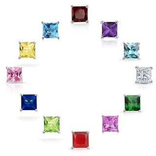 14k White Gold Princess-cut Crystal Birthstone Stud Earrings