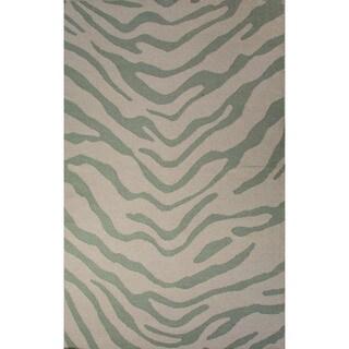 Casual Animal Pattern Fog/Harbor gray Wool 5x8 Area Rug