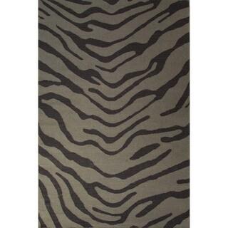 Casual Animal Pattern Feather gray/Walnut Wool 5x8 Area Rug