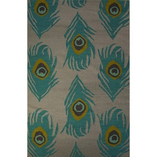 Casual Animal Pattern Feather gray/Oil blue Wool 5x8 Area Rug