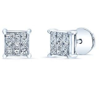 Estie G 18k White Gold 1/2ct TDW Invisible-set Diamond Stud Square Earrings (H-I, VS1-VS2)
