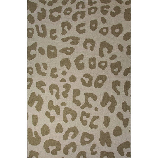 Casual Animal Pattern Fog/Silver mink Wool 5x8 Area Rug