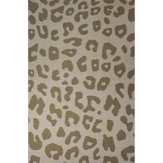 Casual Animal Pattern Fog/Silver mink Wool 5x8 Area Rug