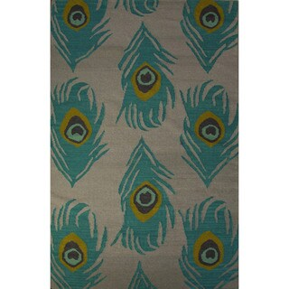 Casual Animal Pattern Feather gray/Oil blue Wool 8x10 Area Rug