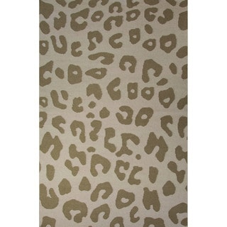 Casual Animal Pattern Fog/Silver mink Wool 2x3 Area Rug