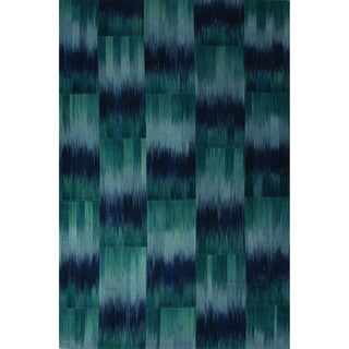 Casual Abstract Pattern Bristol blue/Enisign blue Wool 2x3 Area Rug