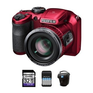 Fujifilm FinePix S6800 16.2MP 30x Zoom Red Digital Camera and 32GB Card Bundle