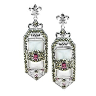 Dallas Prince Sterling Silver Mother of Pearl, Marcasite & Rhodolite Earrings