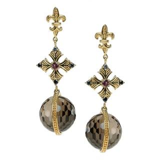 Dallas Prince Gold Over Silver Blue Sapphire, Rhodolite & Smokey Quartz Earrings