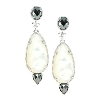 Dallas Prince Silver Mother of Pearl and Hematite Earrings
