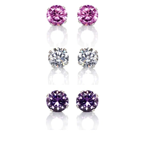 Sterling Silver Pink, Purple and Clear 6-mm Cubic Zirconia 3-pair Earring Stud Set
