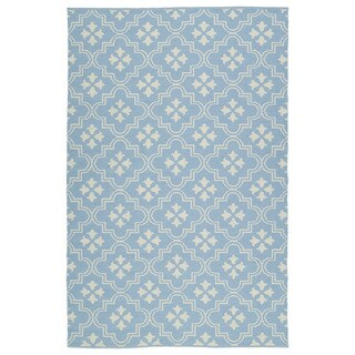 Indoor/Outdoor Laguna Light Blue and Ivory Tiles Flat-Weave Rug (9'0 x 12'0)