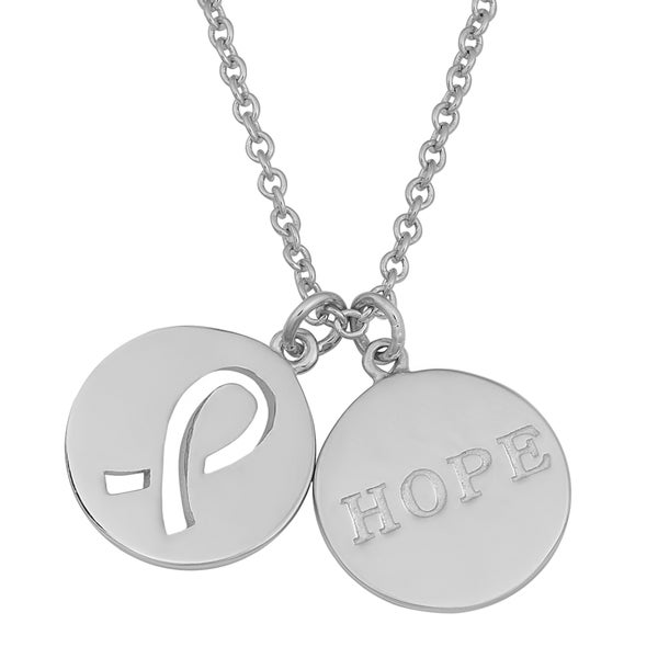 Fremada Rhodium Plated Sterling Silver Ribbon and Hope Disc Necklace