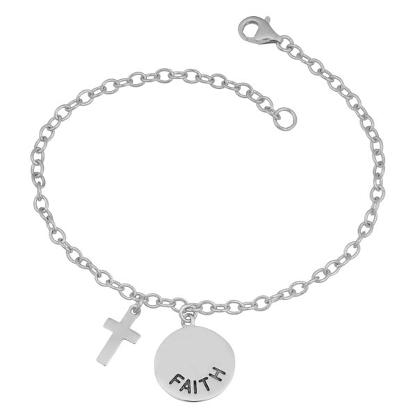 Fremada Rhodium Plated Sterling Silver Faith Disc Charm Bracelet