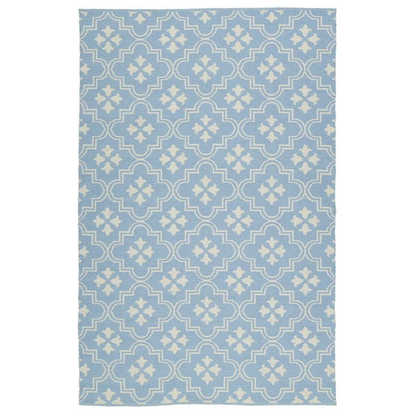 Indoor/Outdoor Laguna Light Blue and Ivory Tiles Flat-Weave Rug (2'0 x 3'0)