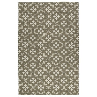 Indoor/Outdoor Laguna Dark Taupe and Ivory Tiles Flat-Weave Rug (8'0 x 10'0)