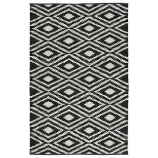 Indoor/Outdoor Laguna Black and Ivory Ikat Flat-Weave Rug (3'0 x 5'0)