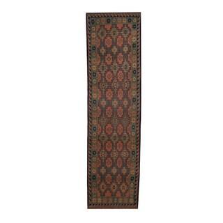 Herat Oriental Afghan Hand-woven Soumak Kilim Salmon/ Green Wool Rug (2'8 x 9'9)