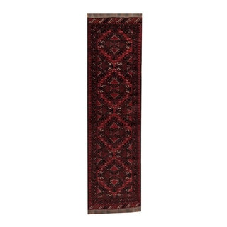 Herat Oriental Afghan Hand-knotted Turkoman Red/ Black Wool Rug (2'7 x 9'7)