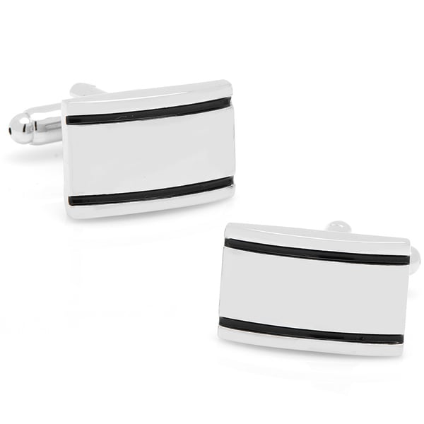 Silverplated Double Black Enamel Banded Cufflinks
