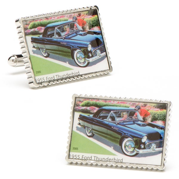 Silvertone 1955 Ford Thunderbird Stamp Cufflinks