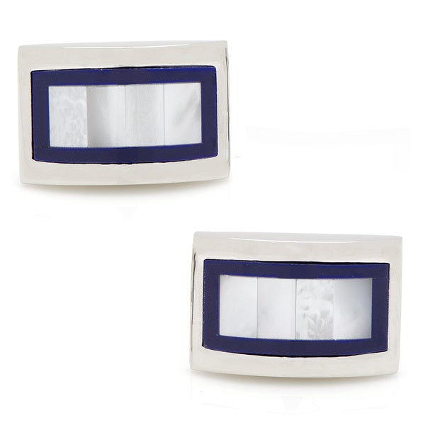 Silverplated Framed MOP Cufflinks
