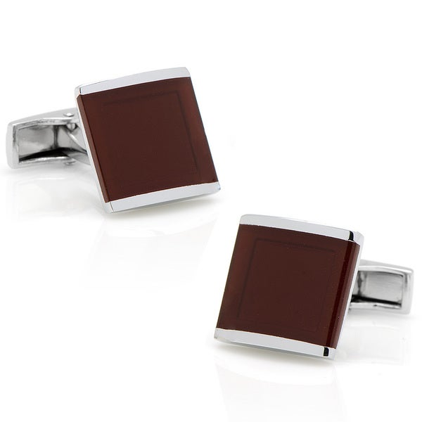 Silverplated Deep Red Infinity Cufflinks
