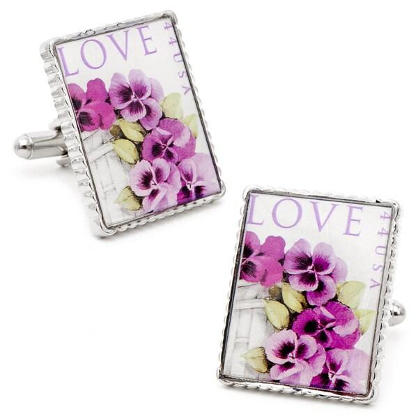 Silvertone Sent with Love Stamp Cufflinks