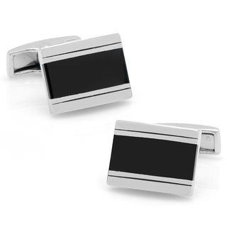 Silverplated Black Pinstriped Cuffinks