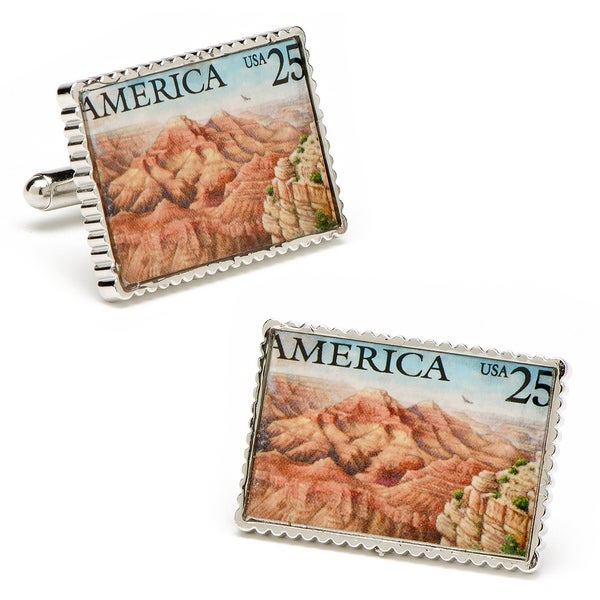 Silvertone Grand Canyon Stamp Cufflinks