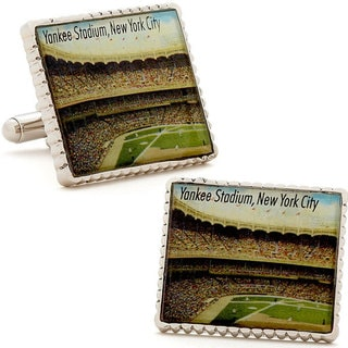 Silvertone Yankee Stadium Stamp Cufflinks