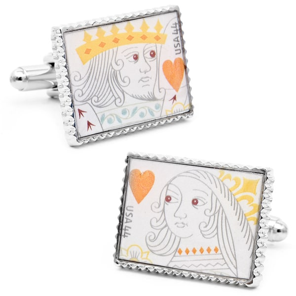 Silvertone King and Queen of Hearts Stamp Cufflinks