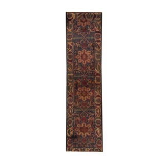 Herat Oriental Afghan Hand-knotted Tribal Balouchi Navy/ Ivory Wool Rug (2'3 x 9')