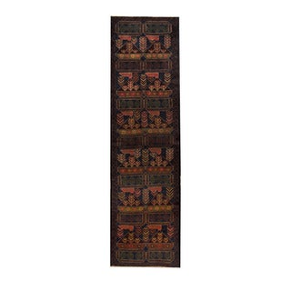 Herat Oriental Afghan Hand-knotted Tribal Balouchi Navy/ Gold Wool Rug (2'6 x 9'1)
