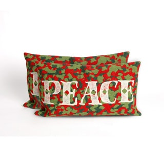 Confetti Peace Indoor/Outdoor 12 x 20 inch Throw Pillow (set of 2)