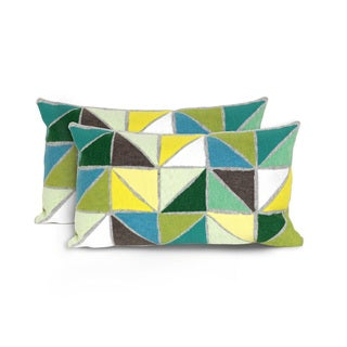 Geometric Indoor/Outdoor 12 x 20 inch Throw Pillow (set of 2)