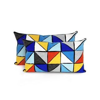 Geometric Indoor/Outdoor 12 x 20 inch Throw Pillow (set of 2)