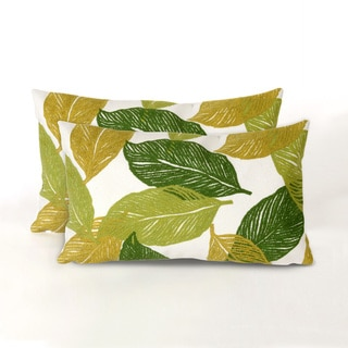 Cut Leaves Indoor/Outdoor 12 x 20 inch Throw Pillows (set of 2)