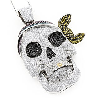 14k White Gold 17 1/3ct TDW Colored Diamond Pirate Skull Necklace (H-I, VS1-VS2)