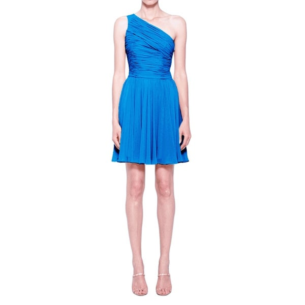 Halston Heritage Blue Single Shoulder Cocktail Dress