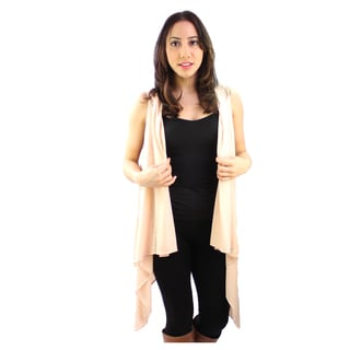 Le Nom Women's Solid Open Vest Cardigan