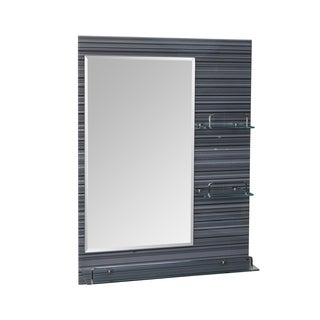 "Danya B. Milan- 24 x 31.5"" All Glass Mirror with Shelves - Black & White Stripes"
