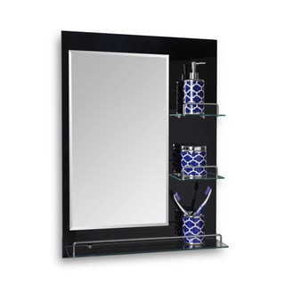 "Danya B. Oslo- 24 x 31.5"" All Glass Mirror with Shelves - Black"