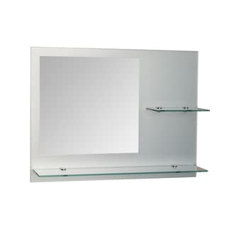 "Danya B. Samara 24 x 18"" Frameless Mirror with Shelves - Clear & Frost"