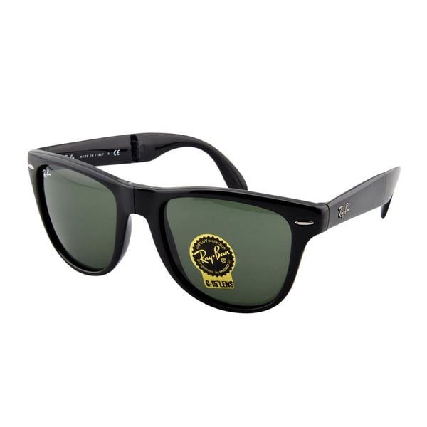 Ray-Ban RB4105 Folding Wayfarer Sunglasses - 601 Glossy Black (G-15XLT Lens) - 50mm 15427890