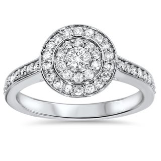 Bliss 10k White Gold 1/2 ct TDW Diamond Double Halo Engagement Ring (H-I, I2-I3)