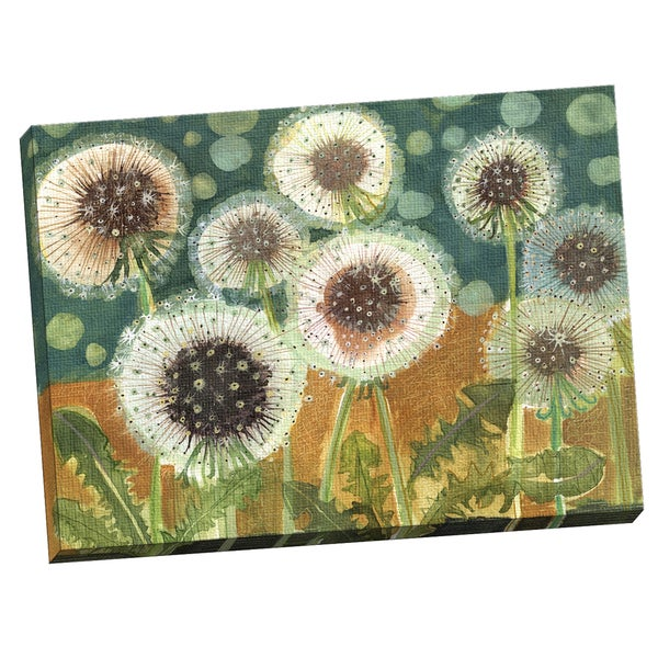 Maret Hensick 'Dandelions In Field' Framed Canvas Wall Art